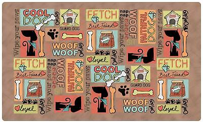 (Drymate 12 by 20-Inch Dog Bowl Place Mat With Brown Cool Dog Design)