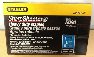 """Stanley TRA704-5C Sharpshooter Heavy Duty Staples 1/4"""" Narrow Crown 5000 Ct Box"""