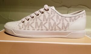 NEW MICHAEL Michael Kors  Women's City Sneaker MK Signature Size 8 Vanilla