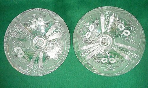 Pair French Crystal Glass Compotes with Floral Decoration-19th Century