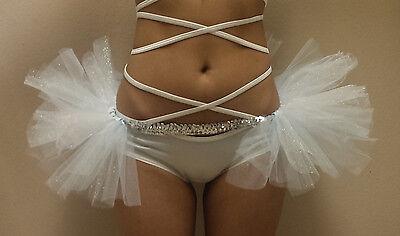 White Wonderland White GLITTER Sparkle Half Tutu Sequin Belt Cheeky Rave EDC (White Wonderland Outfits)