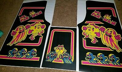 Ms pac man Black side art and kickplate 3 Piece Set Laminated