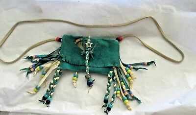 Tobacco Medicine Fetish Bag With Strap Cream Teal Leather Beads Handmade USA