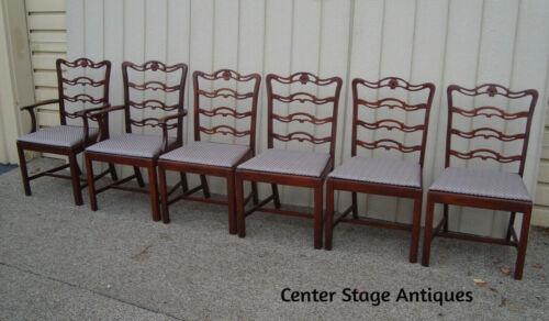 59630 Set of 6 Antique Mahogany Ribbon Back Dining Room Chairs