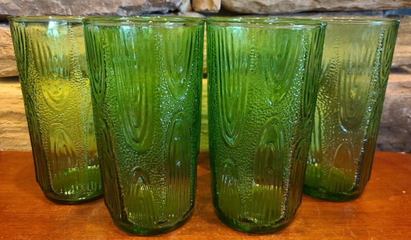 """6 Vintage Funky Unique Textured Avocado Green Glass Tumblers RARE STYLE!  6"""""""