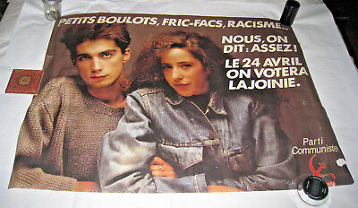 Vintage French Poster Communist Party Little Jobs Racism We Said Enough We Vote