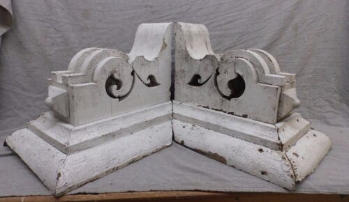 Large Antique Pair Wood Corbels Shabby Cottage Chic Vintage 474-17R