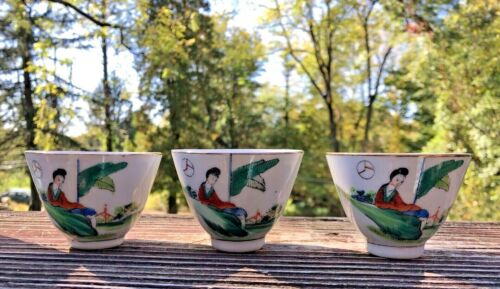 CHINESE PORCELAIN SAKE CUPS MADE IN CHINA  -  THREE CUPS  - ESTATE FRESH