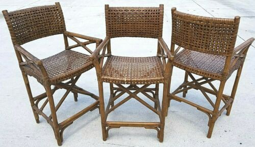 (3) Vtg MCM McGuire Antalya Laced Leather Rawhide Bamboo Bar Counter Stools