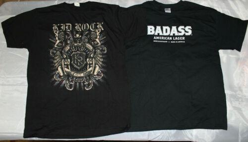 2 RARE NEW VINTAGE TOUR KID ROCK REBELS ANGEL 2009 & BAD AMERICAN LAGER T-SHIRTS
