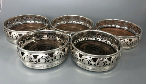 19th Century Sheffield Plated Pierced WIne Coasters FGZX