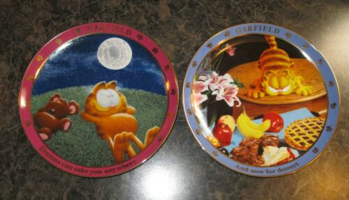 Danbury Mint Collector Plates Set of 2  A DAY WITH GARFIELD ~ dreams & dessert