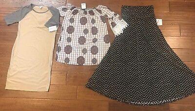 LulaRoe Lot Medium Maxi Skirt Large Julia Dress Bonus Tunic NEW NWT M Med Lg L