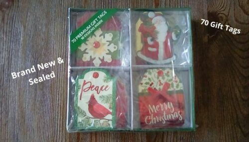 NEW 70 Premium Christmas GIFT TAGS ~ Handmade Embellishments • 10 Designs • Box