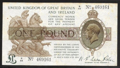 Great Britain 1919 1 Pound Fisher Signature P-357