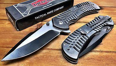 8 5  Spring Assisted Tactical Stiletto Folding Knife Alum Handl Sharp Outdoor Bk