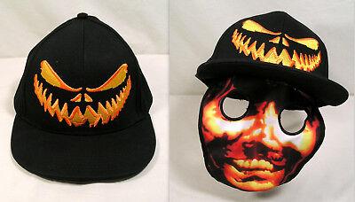 Halloween Baseball Cap Scary Pumpkin Face Mask, Halloween Hat Costume