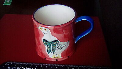 English Country Pottery Hand Painted Bird/Pigeon Mug. 3.25