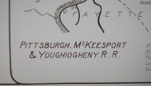 "PITTSBURGH, McKEESPORT & YOUGHIOGHENY RR -1923 16"" X 20"" SYSTEM MAP - DETAILED"