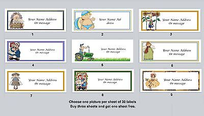 30 Personalized Return Address Labels Primitive Country Buy 3 Get 1 Free Pc10