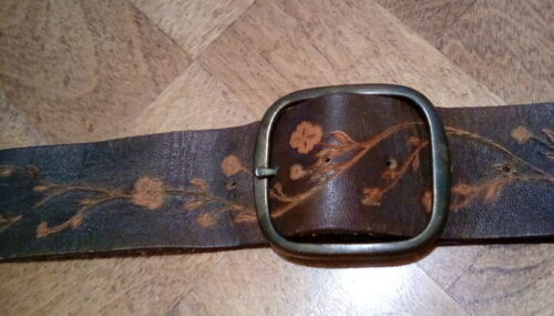 Vintage Tooled Leather Camera Strap, Flowers, Double Buckles, soft and supple