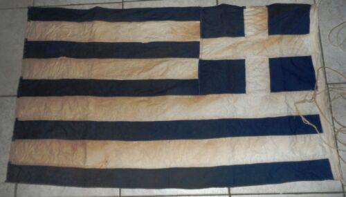VINTAGE VERY OLD GREEK GREECE COTTON FLAG 102X62 cm FREE intl SHIP