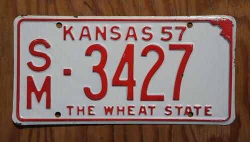 1957 SMITH COUNTY Kansas License Plate # 3427 - Nice Original