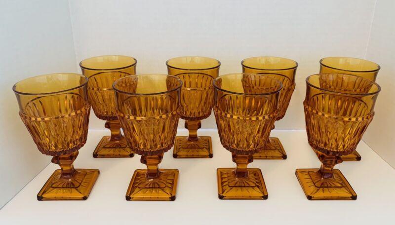 "8 Indiana Glass Mount Vernon Amber Goblet Square Base 8 oz Vintage 6"" x 3 3/8"""