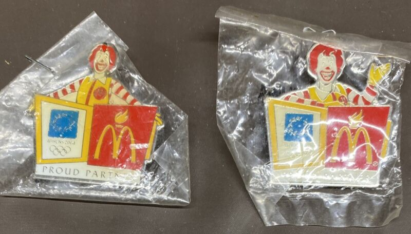 2 McDonalds Lapel Pins 2004 Olympics Athens Ronald W/ Hand Up Hand Down