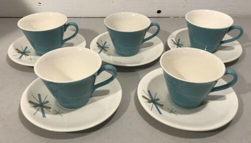 SALEM NORTH STAR 5 Cup & Saucer Sets—Atomic Starburst Mid Century