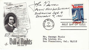 JOHN-NEWMAN-signed-autographed-1966-FDC-first-day-cover-Pearl-Harbor-Survivor