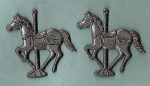 "Set of 2 Pewter Carousel Horse Christmas Ornaments 3.75"" Silver Metal Holiday"