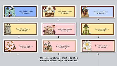 30 Personalized Return Address Labels Primitive Country Buy 3 get 1 free (pc3)