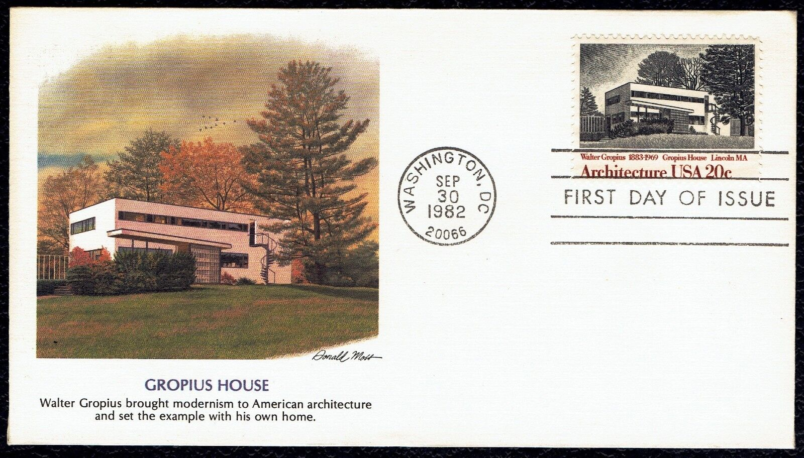 US 2021 Gropius House American Architecture 1982 Fleetwood FDC F2021-1 - $2.99