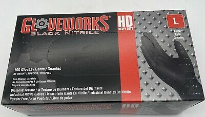 Gloveworks Nitrile Latex-free Gloves L-large Black 100box