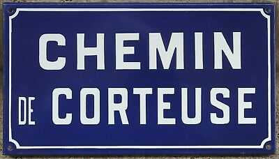 French enamel street sign plaque road name plate Chemin Corteuse Etampes 1970s