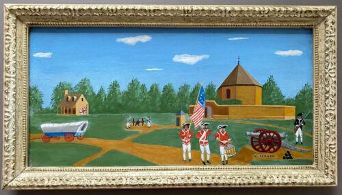 AMERICAN REVOLUTIONARY WAR FOLK ART OIL PAINTING SIGNED AL. SANGER - MUST SEE!