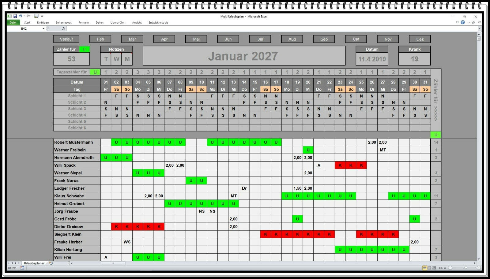 Urlaubsplaner Dienstplaner Schichtplaner MS Excel Software App bis 6 Schichten