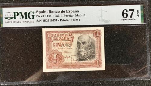 SPAIN  Banco de Espana  1 Peseta  1953  P-144a  PMG-67