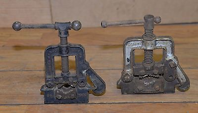 2 pipe vise Reed & Holland collectible blacksmith plumbing tool vintage lot