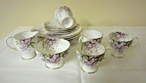Vintage Royal Standard Wisteria Tea Set w/Plates for 4, Bone China, 15 pieces