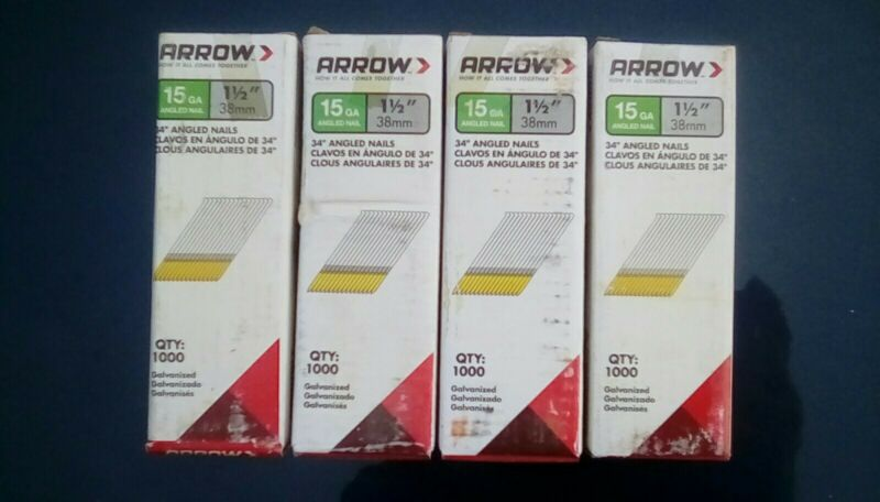 "Arrow 1 1/2"" 15GA Angled Finish Nails - 4 Packs of 1,000 - 34 Degree 4,000 Nails"
