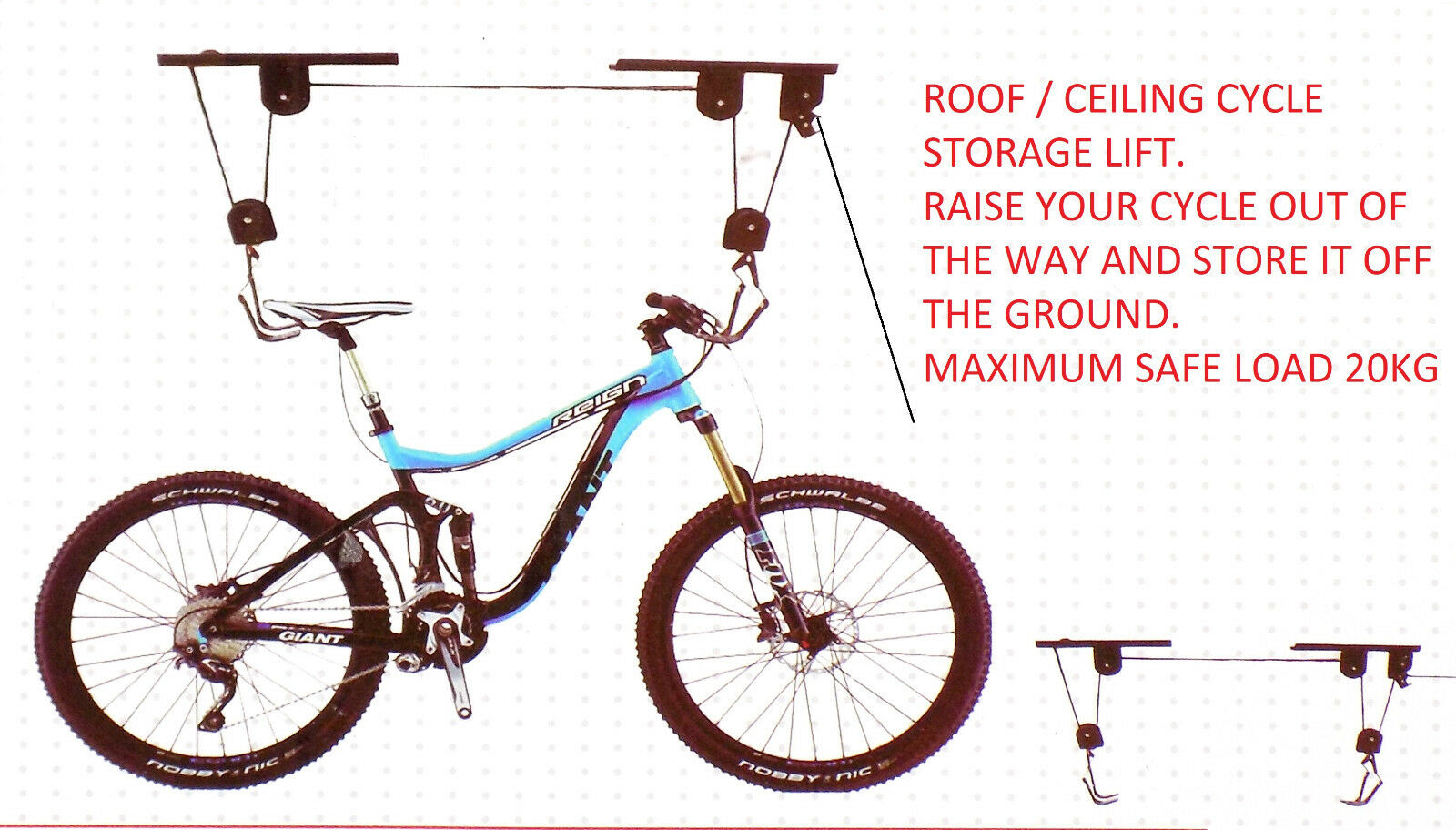 20KG CYCLE STORAGE SPACE SAVING STAND RACK GARAGE BIKE LIFT BICYCLE PULLEY HOIST