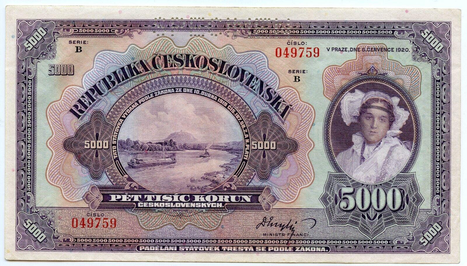 RARE Czechoslovakia 5000 Korun SPECIMEN 1920 P-19s UNC - $112.50