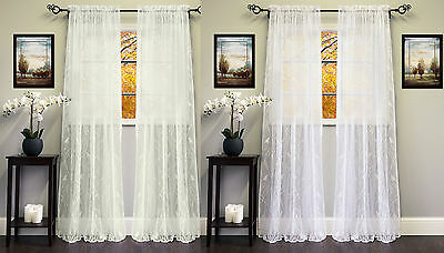 Knit Lace Polyester SongBird Motif 56″x 84″ Window Curtain Panel Curtains & Drapes