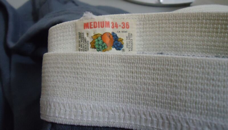 NOS Vtg 1970s Fruit of the Loom 100% Cotton Ribbed Gray Men
