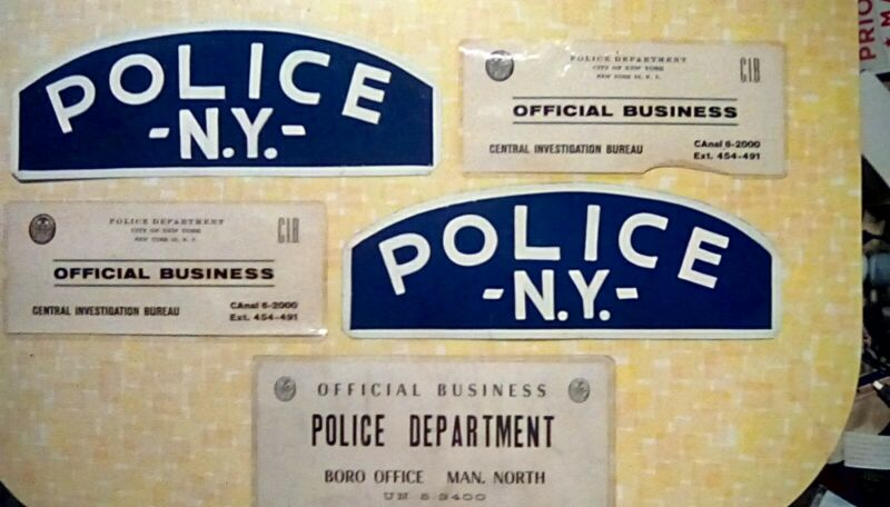 Vintage New York City Police Department Signs, Metal, Window I.D., NYPD, Rare