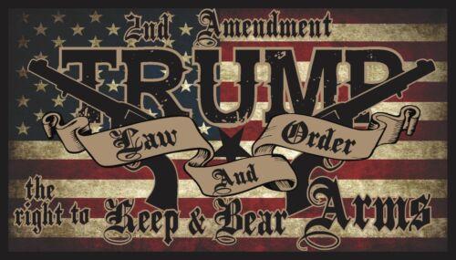 TRUMP LAW & ORDER 2nd AMENDMENT GUNS AMERICAN FLAG 2020 DECAL BUMPER STICKER