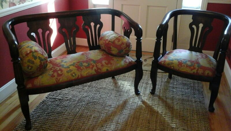 Antique Settee and Chair Set with Chelsea House Upholstery
