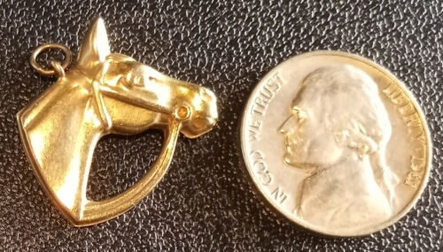 Vintage 9k .375 Solid Yellow GOLD Horse Head Pendant Charm 1.5 Grams Equestrian